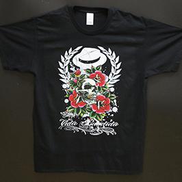 Melnas t-kreklu drukāšanas paraugs, izmantojot A1 digitālo tekstilmateriālu printeri WER-EP6090T